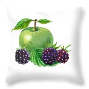 Green Apple With Blackberries Throw Pillow