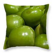 Green Apples On Display At Farmers Market Throw Pillow