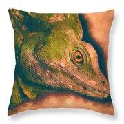 Green Basilisk Lizard Throw Pillow