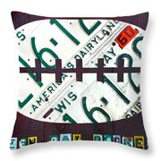 Green Bay Packers Football License Plate Art Throw Pillow