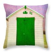 Green Beach Hut Throw Pillow