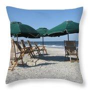 Green Beach Umbrellas Throw Pillow