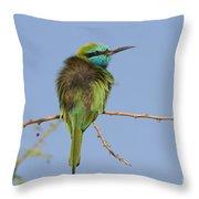 Green Bee-eater Merops Orientalis Throw Pillow