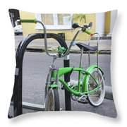 Green Bike Throw Pillow