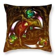 Green Blue Aliens Playing Catch Digital Art Throw Pillow