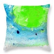 Green Blue Art - Making Waves - By Sharon Cummings Throw Pillow