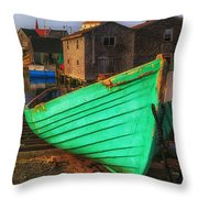 Green Boat Peggys Cove Throw Pillow