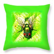 Green Bottle Fly Throw Pillow