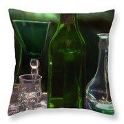 Green Bottle Throw Pillow