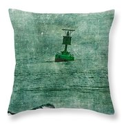 Green Buoy - Barnegat Inlet - New Jersey - Usa Throw Pillow