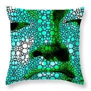 Green Buddha - Stone Rock'd Art By Sharon Cummings Throw Pillow