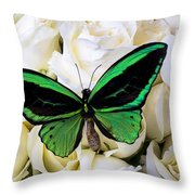 Green Butterfly On White Roses Throw Pillow