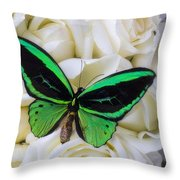Green Butterfly With White Roses Throw Pillow
