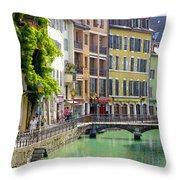 Green Canal Throw Pillow