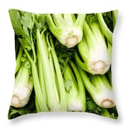 Green Celery On Display Throw Pillow