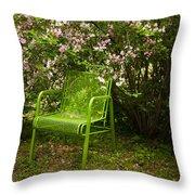 Green Chair Throw Pillow