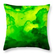 Green Clouds Throw Pillow