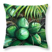 Green Coconuts  3  Sold Throw Pillow