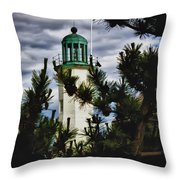Green Copper Lantern Room On Scituate Lighthouse Throw Pillow