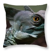 Green Crested Basilisk Throw Pillow