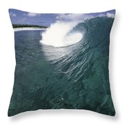 Green Curl Throw Pillow