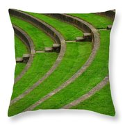 Green Curves And Steps Throw Pillow