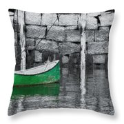 Green Dinghy Floating Throw Pillow