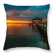 Green Dock And Golden Sky Throw Pillow
