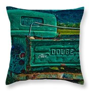 Green Dodge Throw Pillow