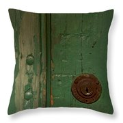 Green Door   #4377 Throw Pillow