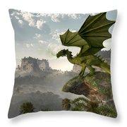 Green Dragon Throw Pillow