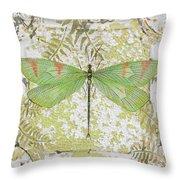 Green Dragonfly On Vintage Tin Throw Pillow