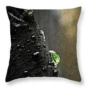 Green Droplet  Throw Pillow