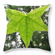Green Droplets Throw Pillow