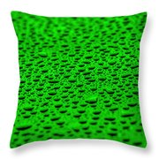 Green Drops On Water-repellent Surface Throw Pillow