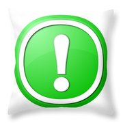 Green Exclamation Point Button Throw Pillow