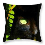 Green Eyed Black Cat Throw Pillow