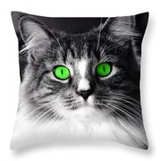 Green Eyed Elvis Throw Pillow