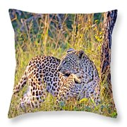 Green Eyed Leopard Throw Pillow