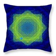 Green Eyed Weave Throw Pillow by Mathilde Vhargon