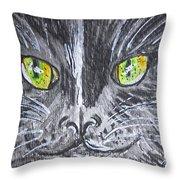 Green Eyes Black Cat Throw Pillow