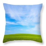 Green Field Landscape Throw Pillow