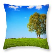 Green Field Landscape With A Single Tree Throw Pillow
