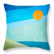 Green Fields Blue Waters Throw Pillow