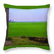 Green Fields With Birds Throw Pillow