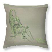 Green Figure II Throw Pillow