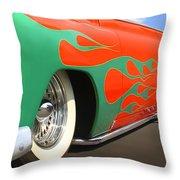 Green Flames Throw Pillow