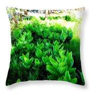 Green Flowers Throw Pillow
