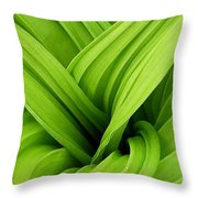 Green Folds Throw Pillow