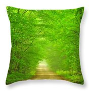 Green Forest Tunnel Throw Pillow